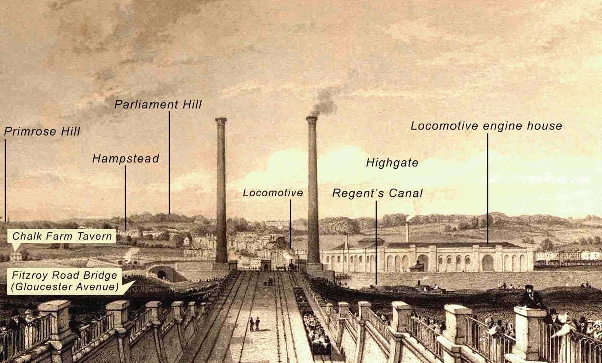 [Image of Camden Incline and Stationary Engine Chimneys c1838]
