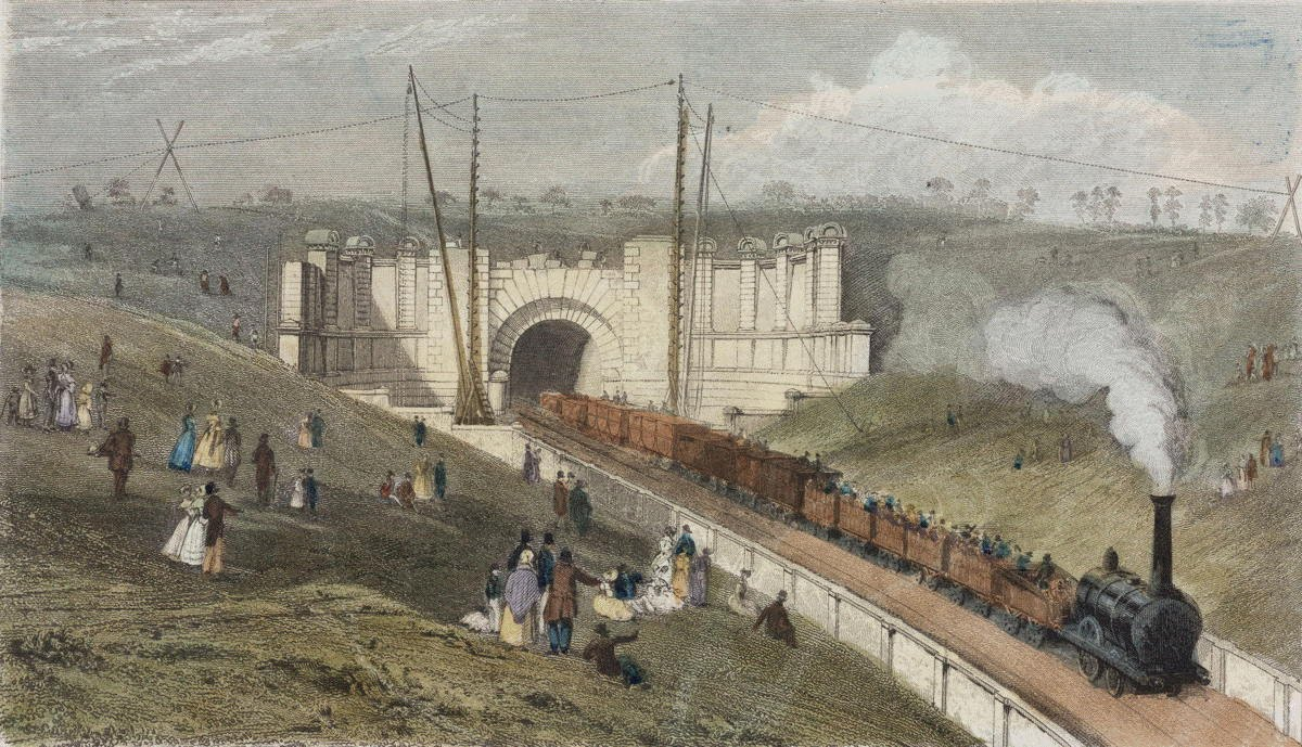 [Image of Primrose Hill Tunnel East Portals under construction]