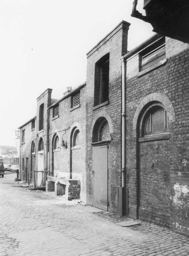 [Image of The Stables: single storey bays with haylofts from 1856]
