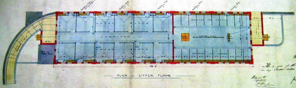 [Image of Plan of upper floor of Horse Hospital, 1883, with loose boxes and stalls]
