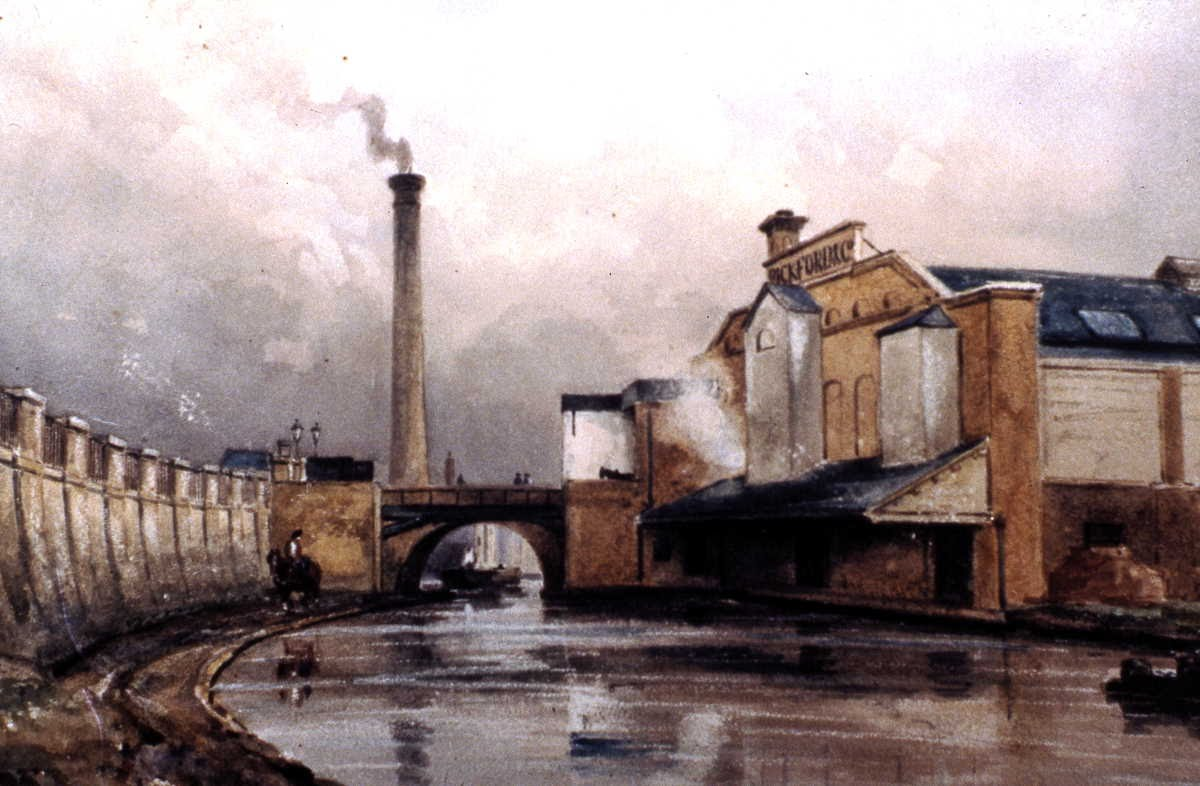 [Image of Original Pickfords shed on the Regent's Canal, c1843]