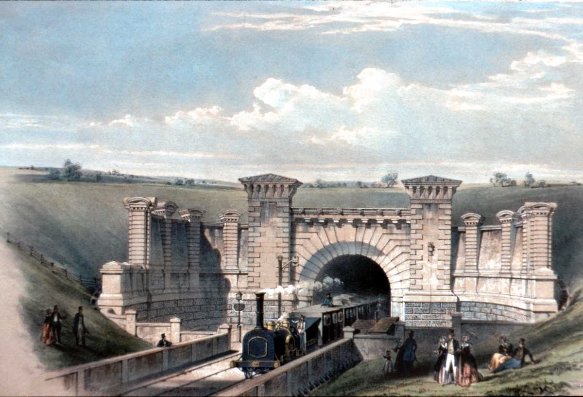 [Image of Primrose Hill Tunnel East Portal c1840]