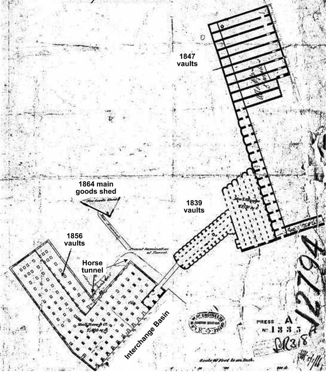 [Image of 1866 plan showing connection of 1854-6 vaults to 1839 vaults, to 1864 goods shed and to Eastern Horse Tunnel]